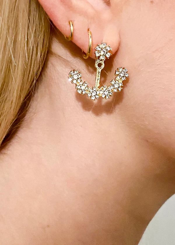 Elegant Flower Ear Jackets Earrings