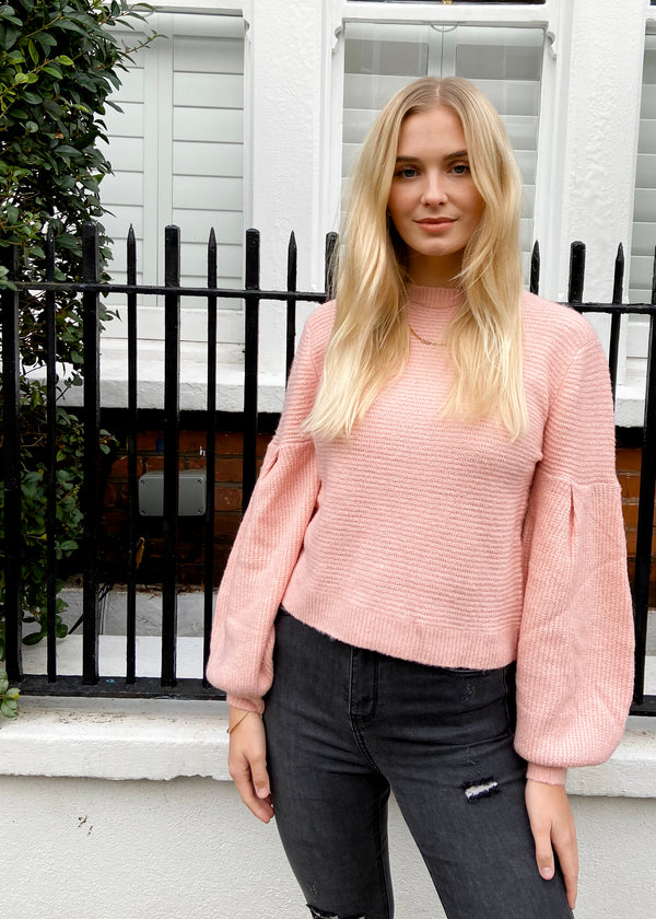 Pink Drop Sleeve Knit Jumper