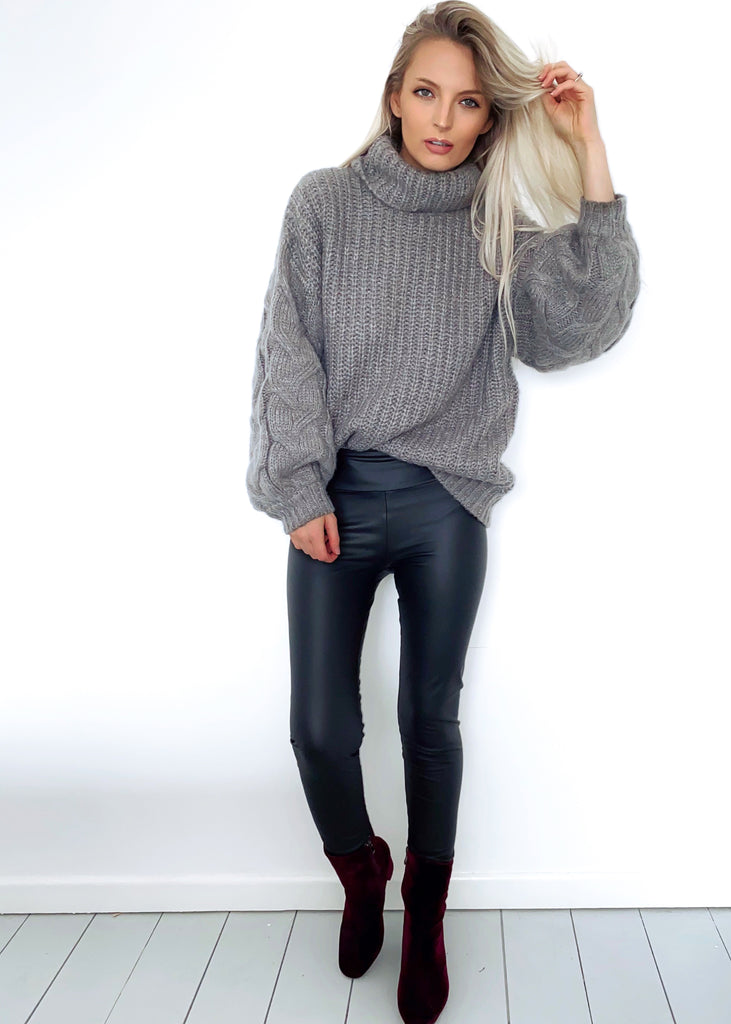 Grey Chunky Knit Roll Neck Oversized Jumper