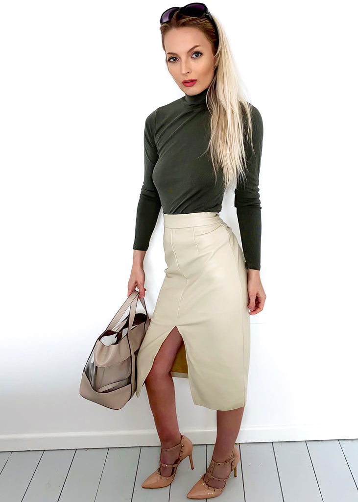 Beige Faux Leather High Waisted Midi Skirt