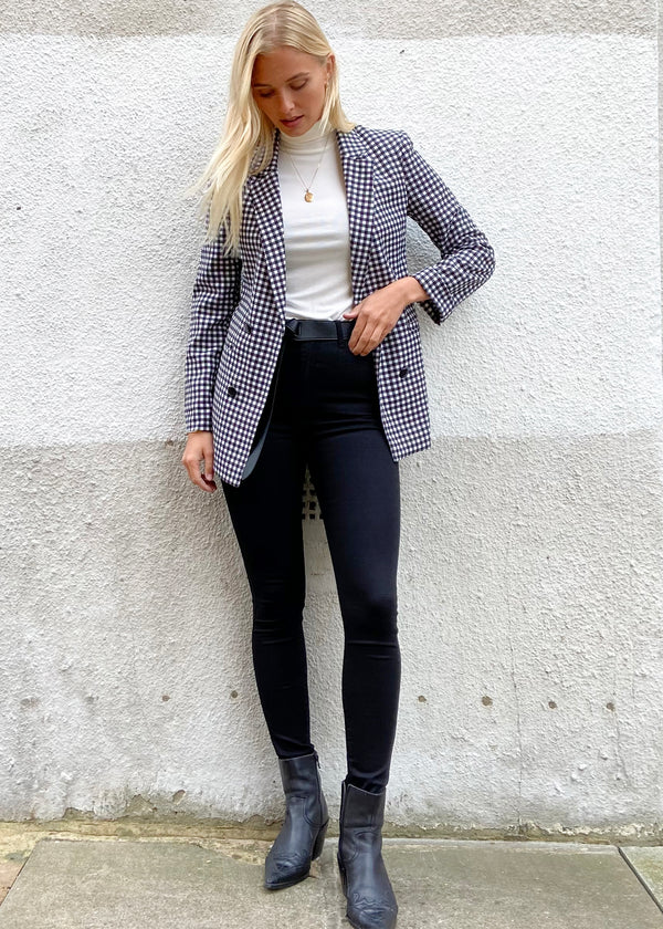 Long Gingham Blazer