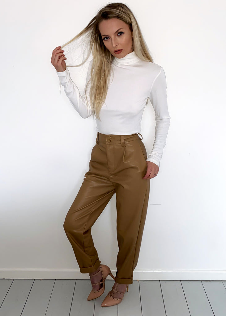 Brown Faux Leather High Waisted Trousers