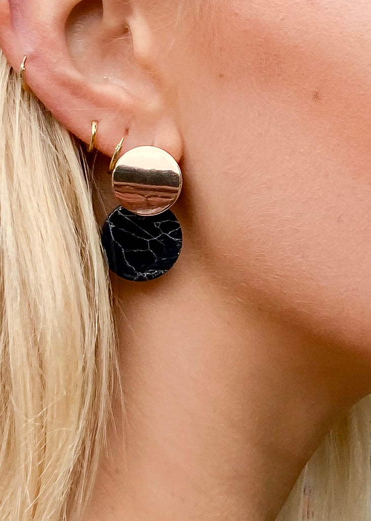 Circle Drop Earrings in Black and Gold