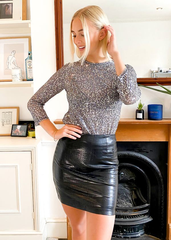 Faux Leather Croc Mini Skirt in Black