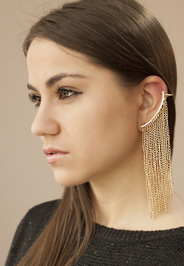 Statement Gold Chain Drape Earcuff - Missworldlondon