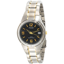 Pulsar Men's Two Tone Stainless Steel Black Dial Watch PXH172
