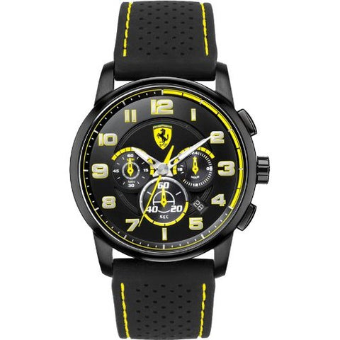 Ferrari Heritage Chronograph Blacl Dial Black Silicone Mens Watch 830061