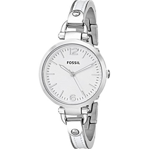 Fossil Women's ES3259 Georgia White Stainless Steel/Leather Watch