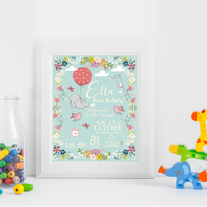 UNFRAMED Birth Details Nursery Wall Art Print