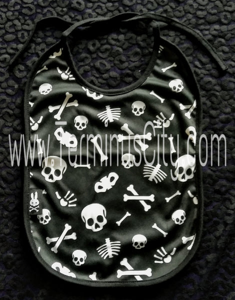 Six Bunnies Baby Bib - Skeleton Bones