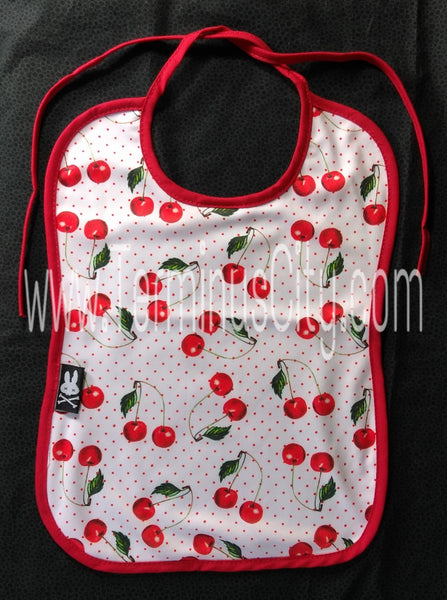 Six Bunnies Cherry Baby Bib - White