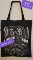 Fuck The World Canvas Shopping Tote