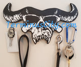 "Handmade Crystar Cow Skull ""Danzig"" Art Key/Leash/Coat Hanger ☆CHOOSE COLORS☆"