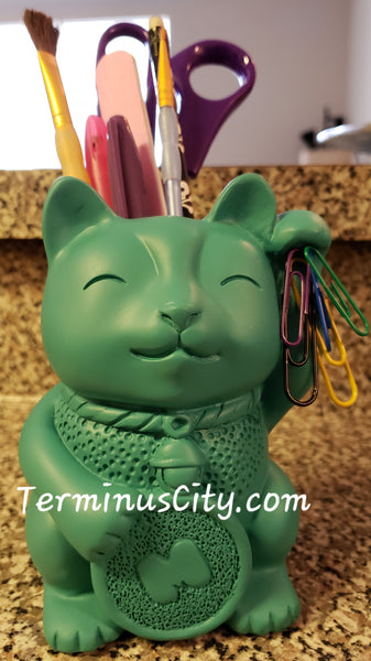 Lucky Cat Pen Pot or Vase