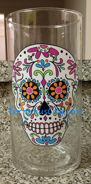 Sugar Skull Candle Holder Vase Hurricane Glass