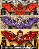HANDMADE Crimson Ghost Skull Horror Bat Art Hanger Or Art