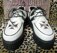 Demonia Iron Cross Creepers - White