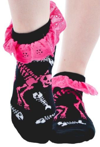 Ruffle Socks - Skeleton Cat