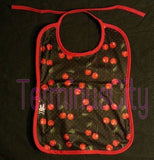 Six Bunnies Cherry Baby Bib - Black