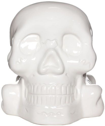 Ceramic Skull Bank - White