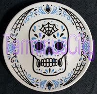 Sugar Skull Porcelain Plate - Blue / Black
