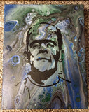 "Handpainted Acrylic Painting Frankenstein 14""x11"" Portrait On Canvas"