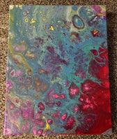"Handpainted Acrylic Abstract Painting 14""x11"" On Canvas"