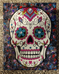 "Handpainted Mixed Media Acrylic Sugar Skull Painting One Of A Kind ""8x10"""