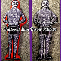 Large Tattooed Man Freakshow Sideshow Pillow - Red