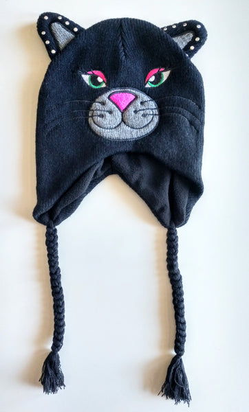 Black Cat Knit Peruvian Trapper Hat