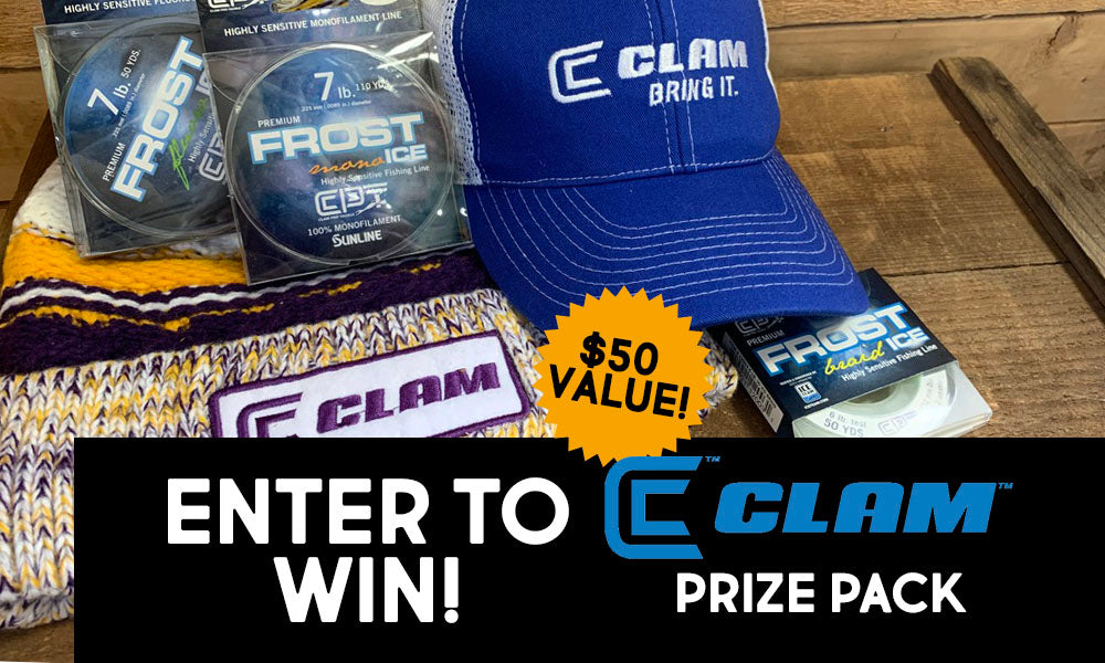 Clam icefishing prize giveaway enter to win