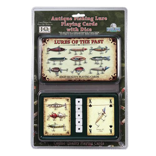 River's Edge Collectible Playing Card & Dice Tin - Lures Of The Past