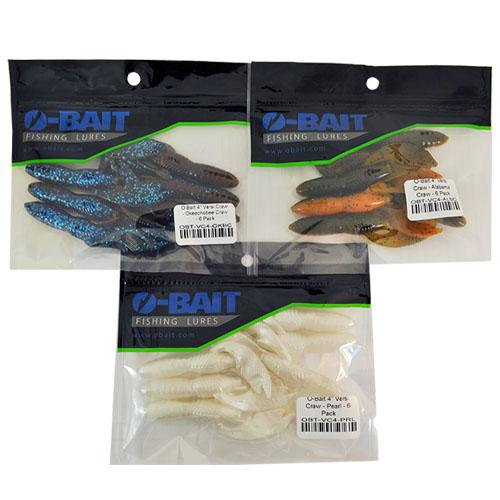 "O-Bait 4"" Versi Craw 3 Piece Assortment Soft Baits"