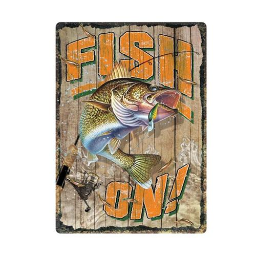 "River's Edge 12"" x 17"" Tin Sign - Fish On! Accessories"