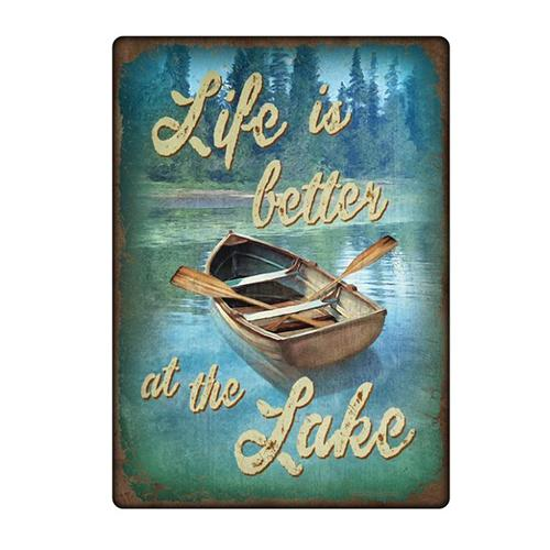 "River's Edge 12"" x 17"" Tin Sign - Life Is Better At The Lake Accessories"