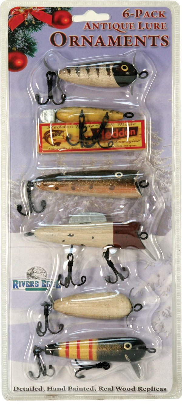 River's Edge 6 Piece Antique Lure Ornament Assortment Accessories