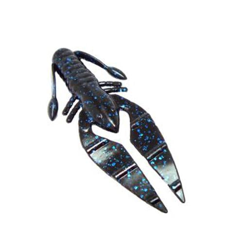 "PowerTeam Lures 3.5"" Craw D'oeuvre - 8 Pack Black/Blue Flake Soft Baits"