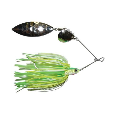 Mission Tackle Tandem Spins Spinnerbait 1/4 oz / Chartreuse Lime White Hard Baits