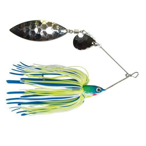 Mission Tackle Tandem Spins Spinnerbait 3/8 oz / Chartreuse/Lime/White Hard Baits