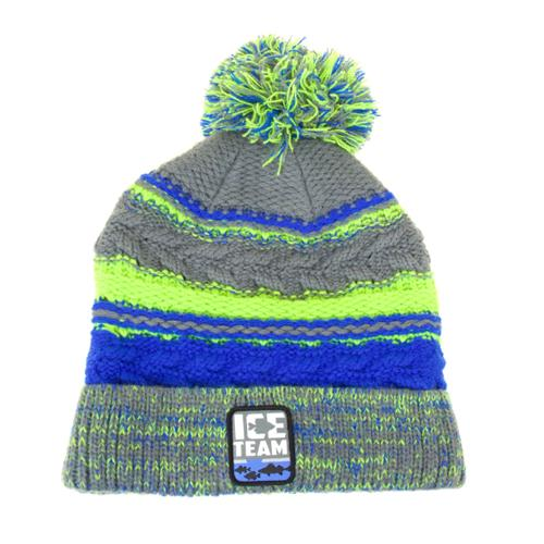 Clam Ice Team Pom Hat - Grey/Chartreuse