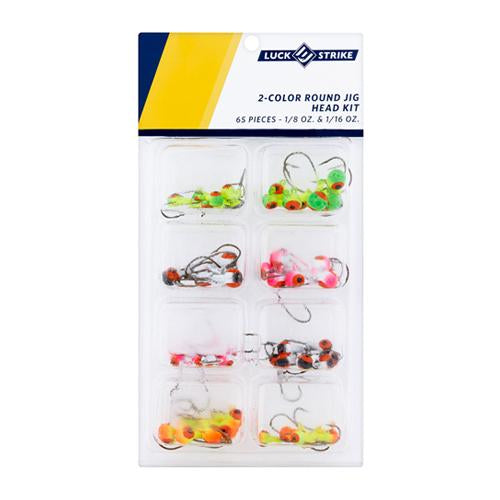 Luck-E-Strike 65 Piece Round Jig Head Kit - 1/8 oz & 1/16 oz Hard Baits