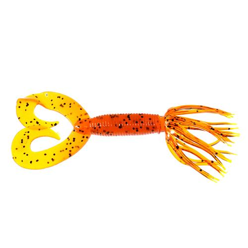 "Gary Yamamoto Double Tail Hula Grub 5"" - 10 Pack Pumpkin/Black Flake Soft Baits"