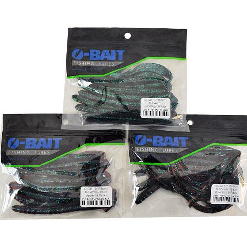"O-Bait 10"" Ribbon Tail Worm 3 Piece Assortment Sets & Bundles"