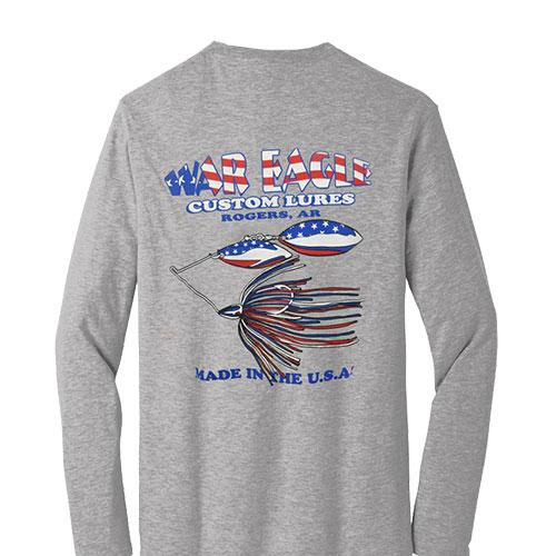 War Eagle Long Sleeve T-Shirt -Grey/Red White and Blue Accessories
