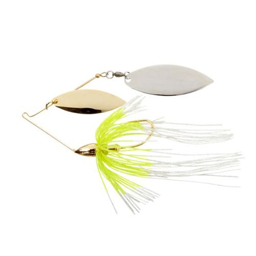 War Eagle 1/4 oz Gold Frame Double Willow Spinnerbait 1/4 oz / White Chartreuse Hard Baits