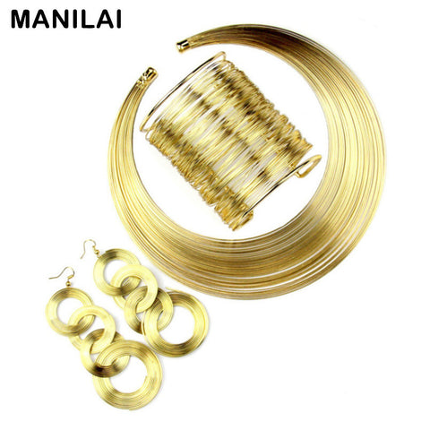 Women Fashion Jewelry Multilayer Metal Wire Choker Necklace Bangle Earring Set