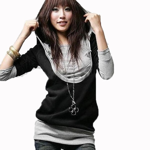 Long Sleeve Patchwork Pullover Hooded  Shirt