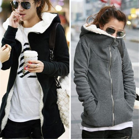 Casual Thick Fleece Hooded Jacket