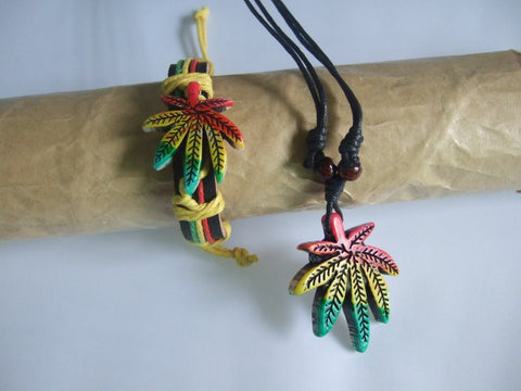 2pcs Set Black Cotton Cord Rasta Weed Leaf Charm Necklace