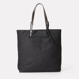 Natalie Waxed Cotton Tote - Black